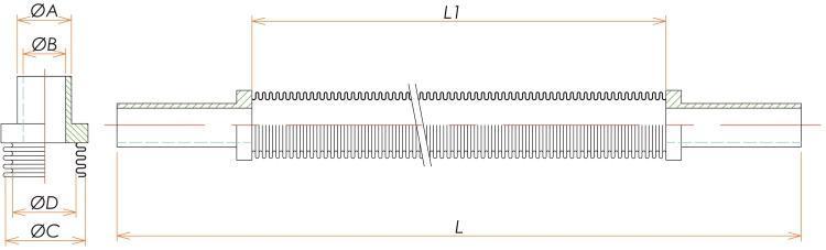 チューブエンド1/4 フレキシブルチューブ L=1500 寸法画像