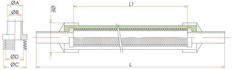 チューブエンド1/4ブレード付フレキシブルチューブ L=500 寸法画像
