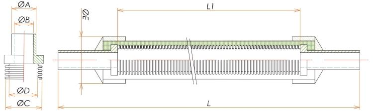 チューブエンド1/4ブレード付フレキシブルチューブ L=750 寸法画像