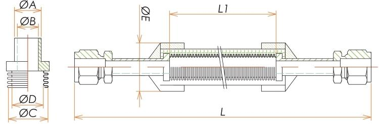 Swagelok® 1/4 ブレード付フレキシブルチューブ L=500 寸法画像