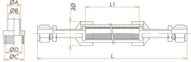 Swagelok® 1/4 ブレード付フレキシブルチューブ L=1000 寸法画像