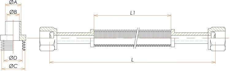 めすVCR®3/8 フレキシブルチューブ L=1000 寸法画像