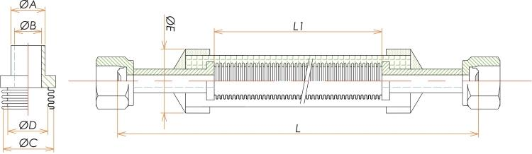 めすVCR®1/4 ブレード付フレキシブルチューブ L=750 寸法画像