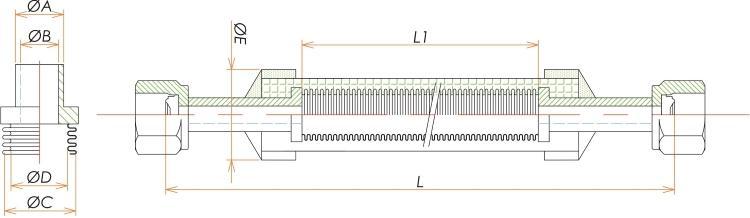 めすVCR®3/8 ブレード付フレキシブルチューブ L=750 寸法画像