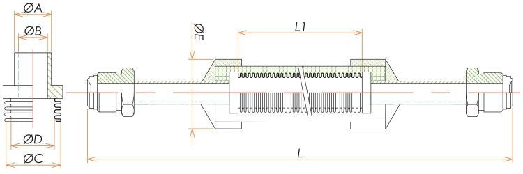おすVCR®3/8 ブレード付フレキシブルチューブ L=750 寸法画像