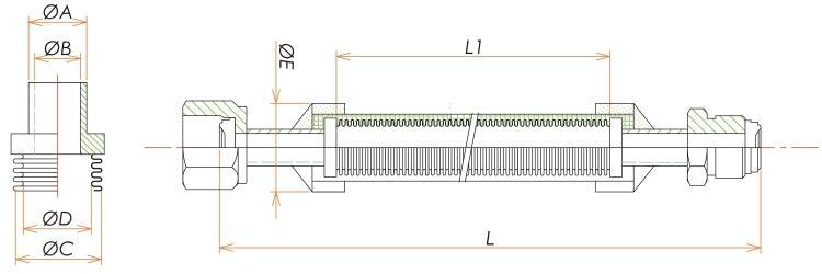めす・おすVCR®1/4ブレード付フレキシブルチューブ L=500 寸法画像