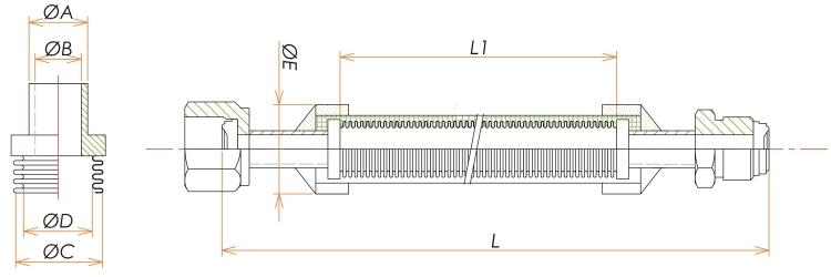 めす・おすVCR® 1/8ブレード付フレキシブルチューブ L=1000 寸法画像