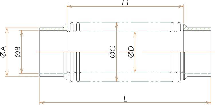 パイプエンド 65A 成形ベローズ L=120 寸法画像