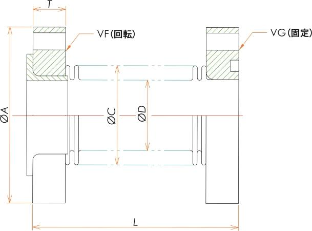 VF/VG25 成形ベローズ片側回転 L=65 寸法画像