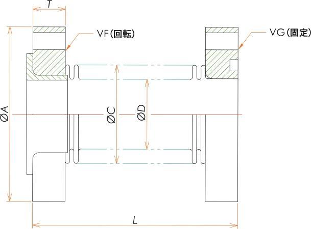 VF/VG125 成形ベローズ片側回転 L=100 寸法画像
