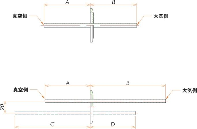 NW25+1/4 水冷・ガス導入機 大気側:チューブ/真空側:チューブ X1 寸法画像