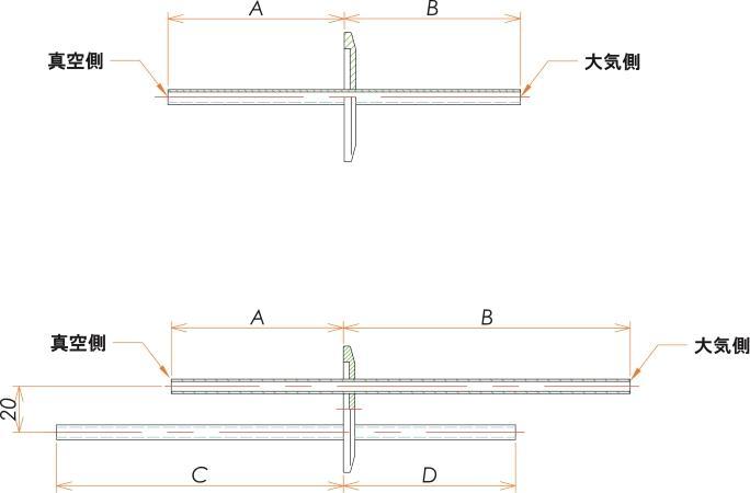 NW50+1/4 水冷・ガス導入機 大気側:チューブ/真空側:チューブ X2 寸法画像