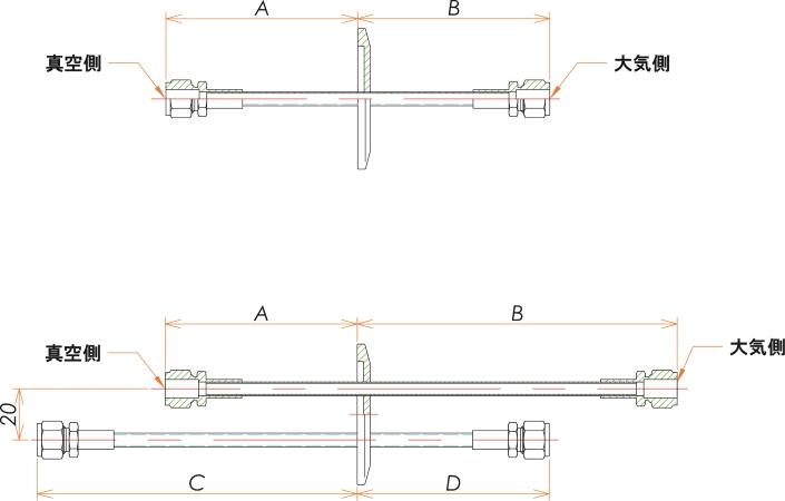 NW25+1/4 水冷・ガス導入機 大気側:Swagelok/真空側:Swagelok X1 寸法画像