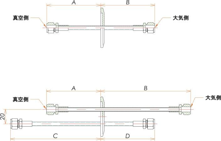 NW40+1/4 水冷・ガス導入機 大気側:Swagelok/真空側:Swagelok X2 寸法画像