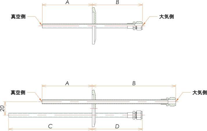 NW40+1/4 水冷・ガス導入機 大気側:Swagelok/真空側:チューブ X2 寸法画像