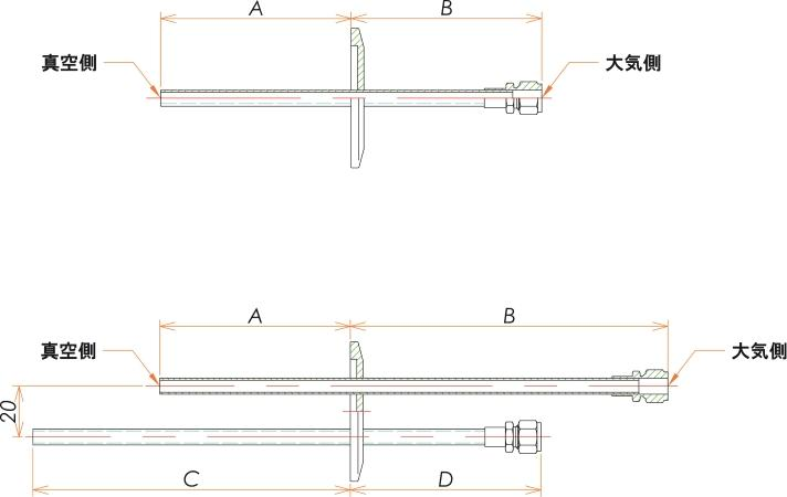 NW50+1/4 水冷・ガス導入機 大気側:Swagelok/真空側:チューブ X2 寸法画像