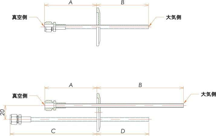 NW25+1/4 水冷・ガス導入機 大気側:チューブ/真空側:Swagelok X1 寸法画像
