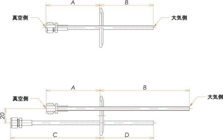 NW40+1/4 水冷・ガス導入機 大気側:チューブ/真空側:Swagelok X1 寸法画像