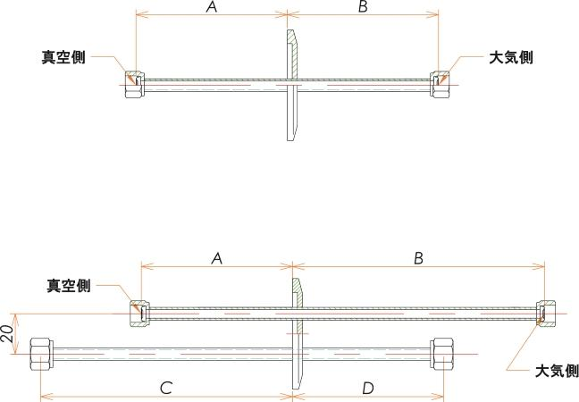 NW25+1/4 水冷・ガス導入機 大気側:めすVCR®/真空側:めすVCR® X1 寸法画像