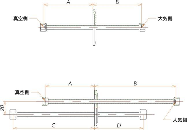 NW50+1/4 水冷・ガス導入機 大気側:めすVCR®/真空側:めすVCR® X2 寸法画像