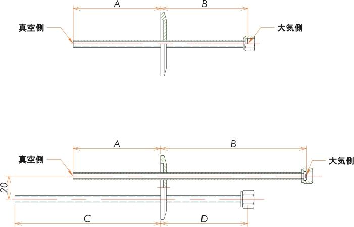 NW25+1/4 水冷・ガス導入機 大気側:めすVCR®/真空側:チューブ X1 寸法画像