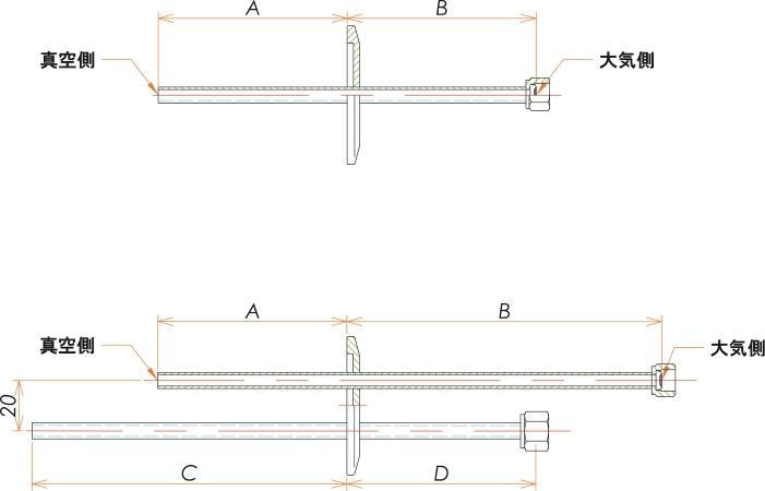 NW40+1/4 水冷・ガス導入機 大気側:めすVCR®/真空側:チューブ X2 寸法画像