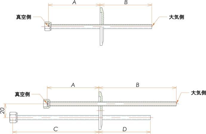 NW40+1/4 水冷・ガス導入機 大気側:チューブ/真空側:めすVCR® X2 寸法画像