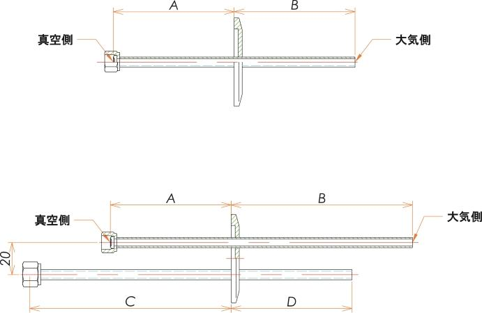 NW50+1/4 水冷・ガス導入機 大気側:チューブ/真空側:めすVCR® X2 寸法画像