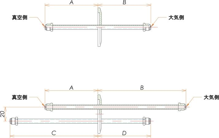 NW25+1/4 水冷・ガス導入機 大気側:おすVCR®/真空側:おすVCR® X1 寸法画像