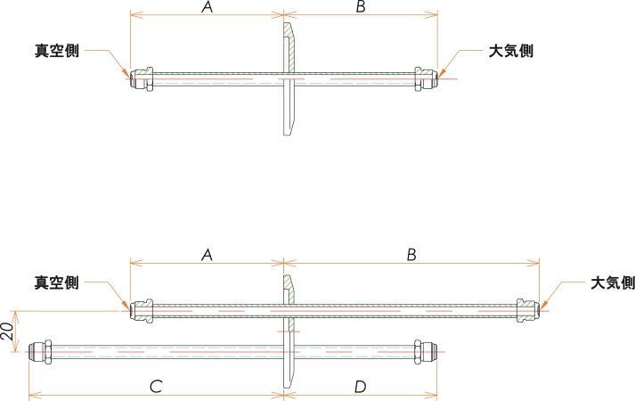 NW40+1/4 水冷・ガス導入機 大気側:おすVCR®/真空側:おすVCR® X2 寸法画像