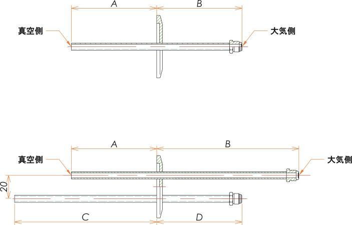 NW40+1/4 水冷・ガス導入機 大気側:おすVCR®/真空側:チューブ X2 寸法画像