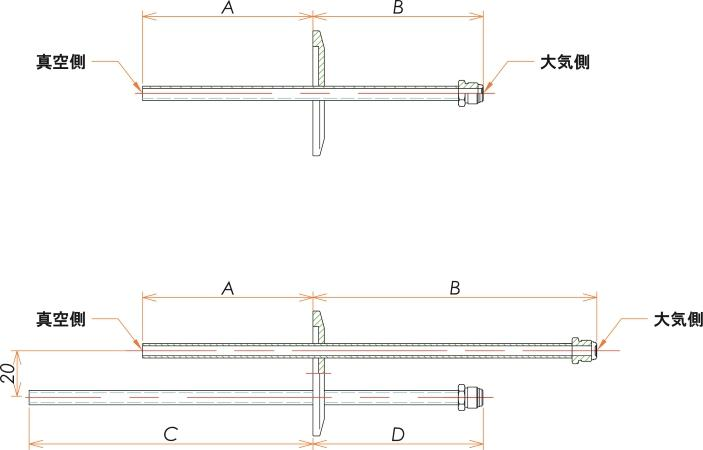 NW50+1/4 水冷・ガス導入機 大気側:おすVCR®/真空側:チューブ X2 寸法画像