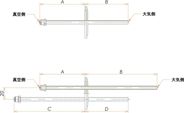 NW16+1/4 水冷・ガス導入機 大気側:チューブ/真空側:おすVCR® X1 寸法画像
