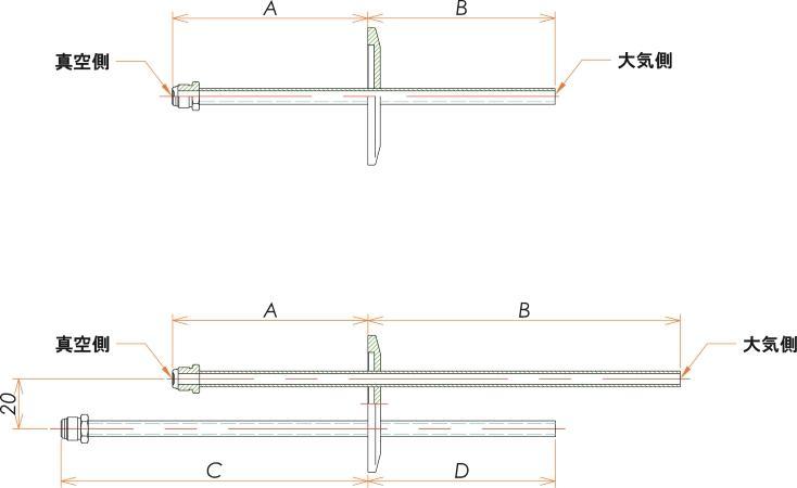 NW40+1/4 水冷・ガス導入機 大気側:チューブ/真空側:おすVCR® X2 寸法画像
