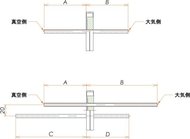 ICF34+1/4 水冷・ガス導入機 大気側:チューブ/真空側:チューブ X1 寸法画像