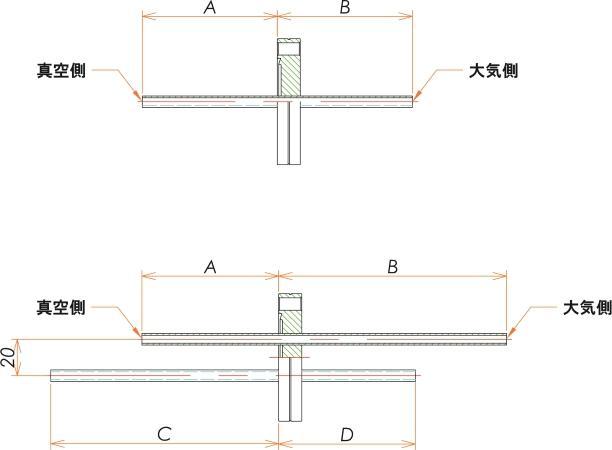 ICF70+1/4 水冷・ガス導入機 大気側:チューブ/真空側:チューブ X2 寸法画像