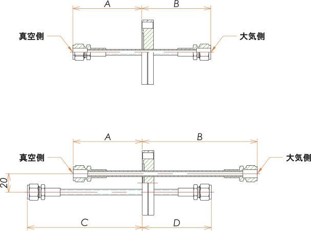 ICF70+1/4 水冷・ガス導入機 大気側:Swagelok/真空側:Swagelok X2 寸法画像