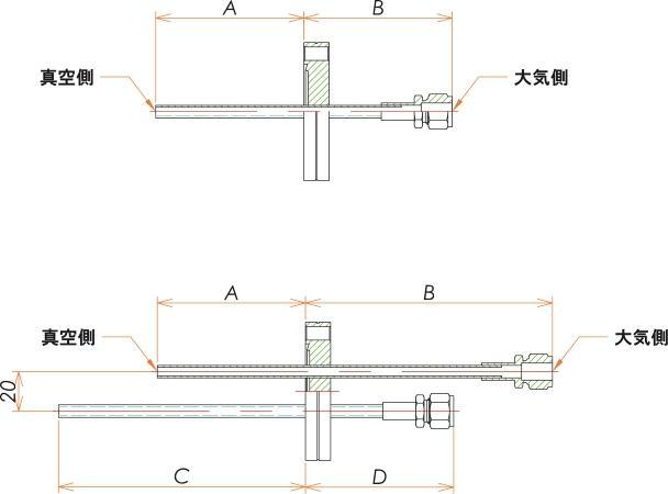 ICF70+1/4 水冷・ガス導入機 大気側:Swagelok/真空側:チューブ X2 寸法画像