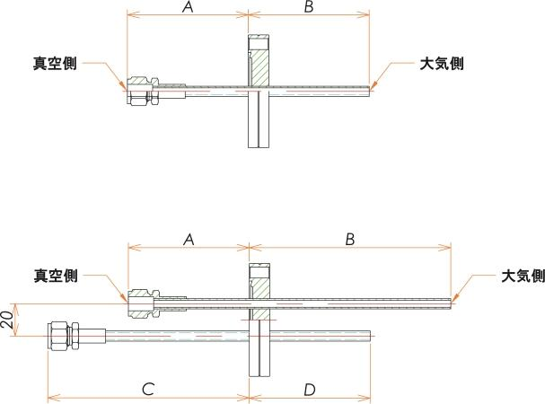 ICF34+1/4 水冷・ガス導入機 大気側:チューブ/真空側:Swagelok X1 寸法画像