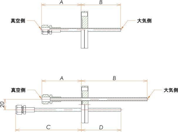 ICF70+1/4 水冷・ガス導入機 大気側:チューブ/真空側:Swagelok X1 寸法画像