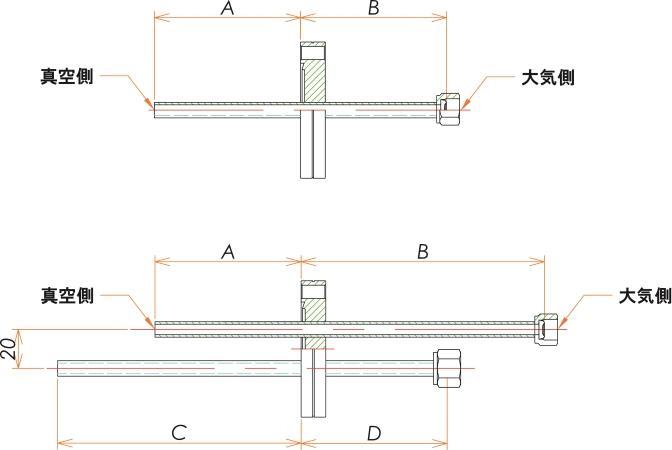 ICF70+1/4 水冷・ガス導入機 大気側:めすVCR®/真空側:チューブ X1 寸法画像