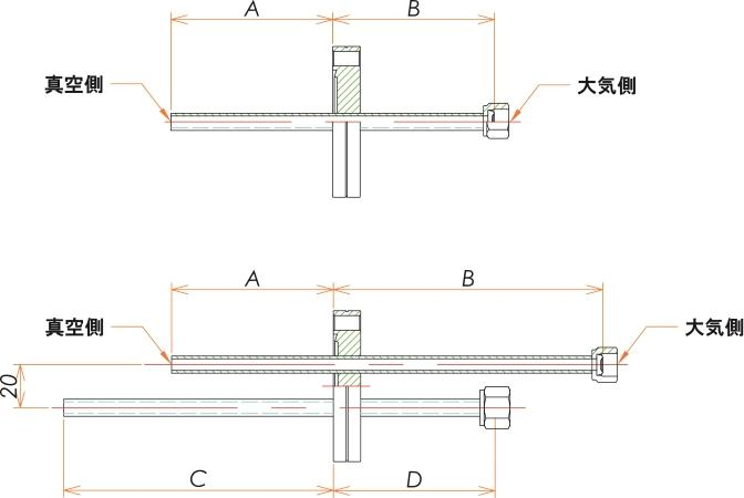 ICF70+1/4 水冷・ガス導入機 大気側:めすVCR®/真空側:チューブ X2 寸法画像