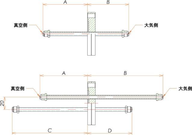 ICF70+1/4 水冷・ガス導入機 大気側:おすVCR®/真空側:おすVCR® X2 寸法画像