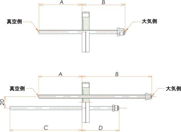 ICF70+1/4 水冷・ガス導入機 大気側:おすVCR®/真空側:チューブ X2 寸法画像