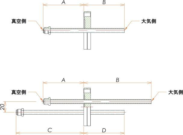 ICF70+1/4 水冷・ガス導入機 大気側:チューブ/真空側:おすVCR® X2 寸法画像