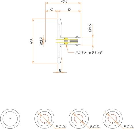 同軸 BNC-R 1個付き NW/KF16 フランジ 寸法画像