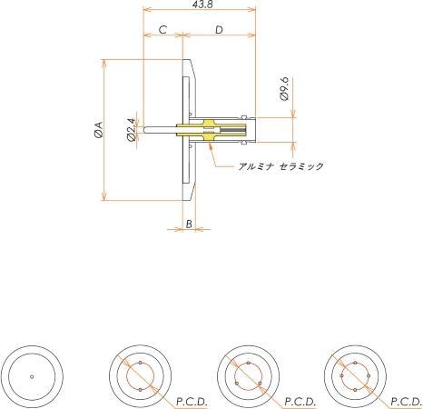 同軸 BNC-R 4個付き NW/KF40 フランジ 寸法画像