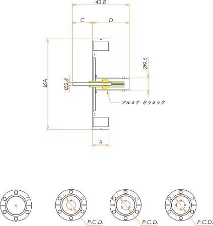 同軸 BNC-R 3個付き ICF70 フランジ 寸法画像
