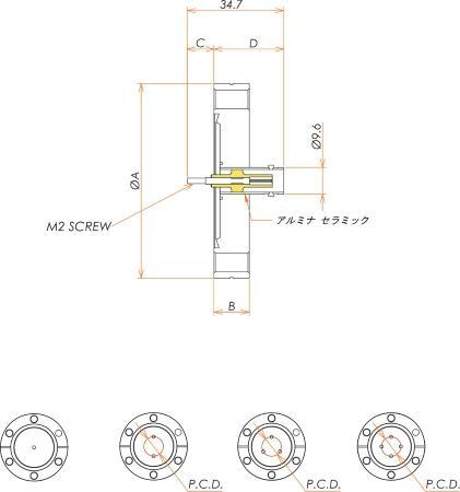 同軸 BNC-R-M2-SCREW 2個付き ICF70 フランジ 寸法画像