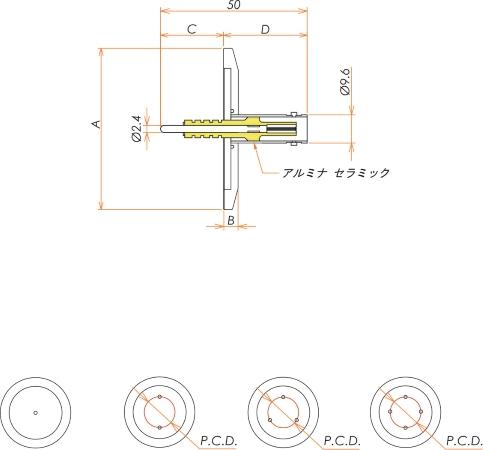 同軸 5kV-BNC-R 2個付き NW/KF40 フランジ 寸法画像